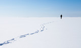 Person walks on frozen sea with snow - 211930125