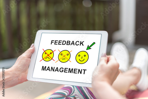Feedback management concept on a tablet