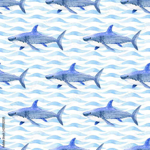Whale watercolor raster seamless pattern. - 211932538