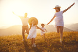 Happy family: mother, father, children son and daughter on sunset - 211933917