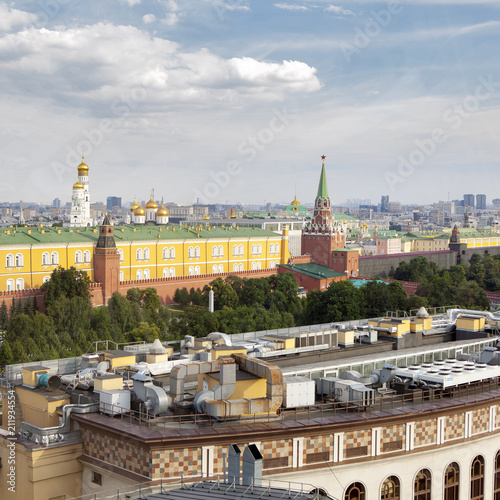 Aerial roof view on Moscow historical center from viewpoint.