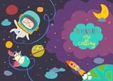 Girl astronaut with her unicorn - 211937929