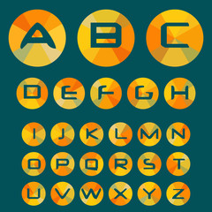 Inverse font with letters of the alphabet in circles with colored rays. Vector