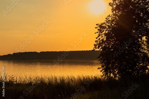 Aluminium Zwart shore of the lake