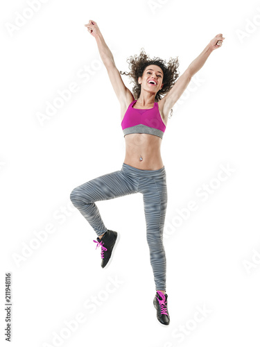Aluminium Fitness one mixed race woman zumba dancer dancing fitness exercises isolated on white background
