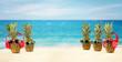 Leinwanddruck Bild - fresh pineapple on beach