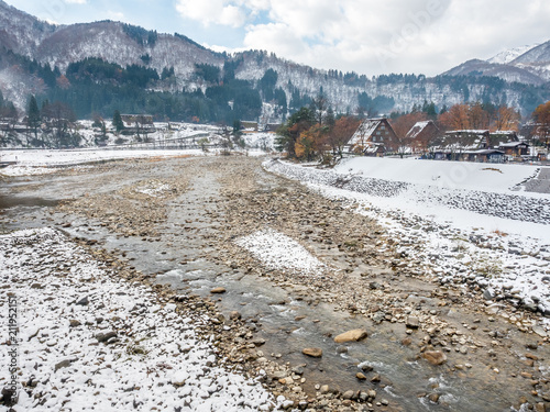 Foto Murales Leafless mountains near Shirakawa village, Japan