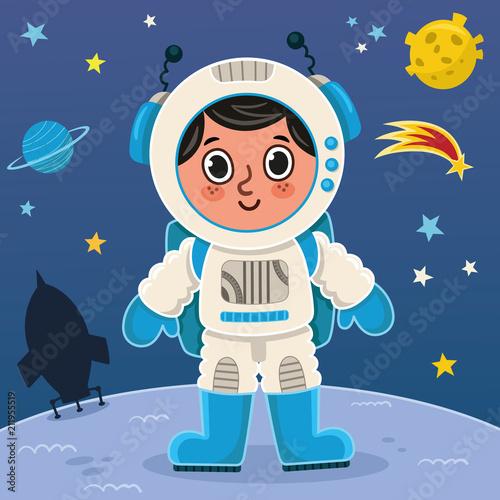 Fototapeta Astronaut boy on the planet. Vector illustration.