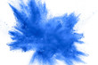 Quadro Abstract blue dust explosion on white background.  Freeze motion of blue powder splash. Painted Holi in festival.