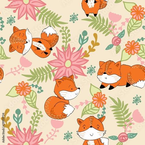 Fototapeta Vector hand drawn seamless pattern. Cute cartoon fox with flowers.