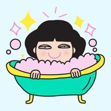 Young Tired Woman Resting And Pampering In A Bubble Bath Concept Card Character Illustration Sticker