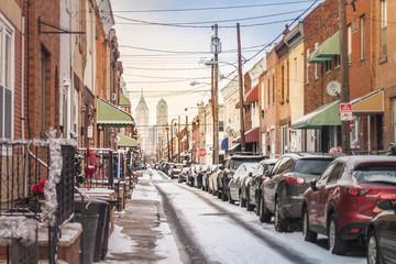 Street of Philadelphia with Snow