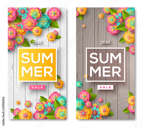 Summer sale wooden banners - 211960156