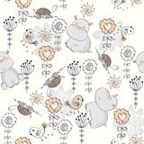 Vector hand drawn seamless pattern with flowers and hippos