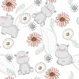 Vector hand drawn seamless pattern with cute hippos - 211960552