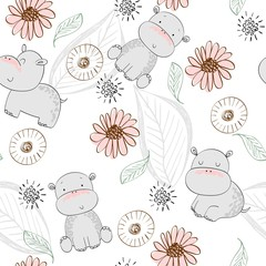 Vector hand drawn seamless pattern with cute hippos © Tapilipa