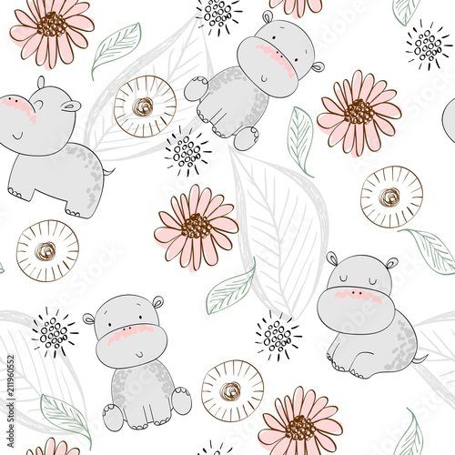 fototapeta na ścianę Vector hand drawn seamless pattern with cute hippos