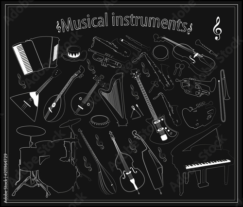 Fototapeta Set of vector musical instruments on a black background