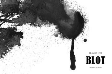 Black ink blot.
