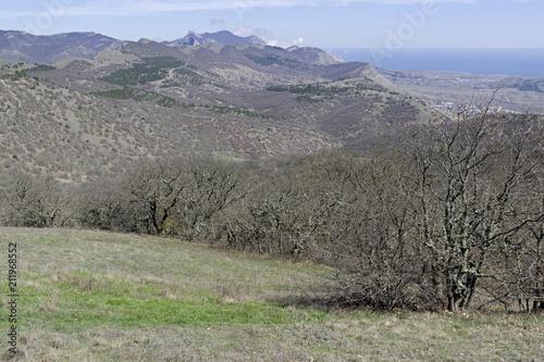 Aluminium Lente View from the ridge towards the sea. Crimea.
