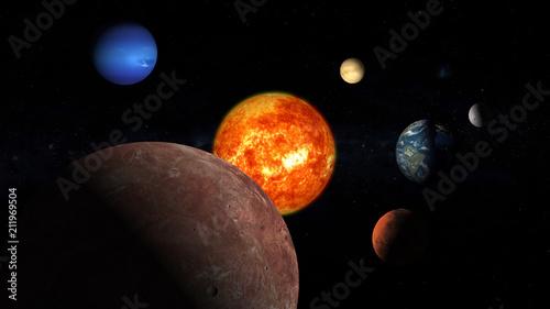 solar system Earth moon sun Neptune Jupiter Mars Mercury