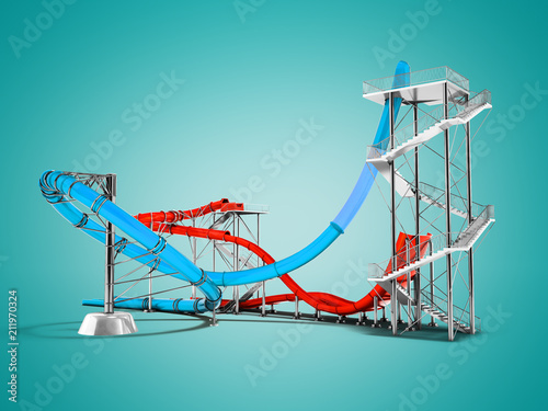 Modern blue red water roller coaster rides for water park behind 3d rendering on blue background with shadow - 211970324