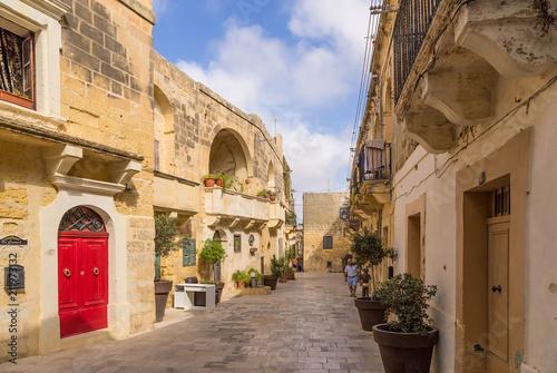 Victoria, the island of Gozo, Malta. Old Narrow street (Triq id-Dejqa)
