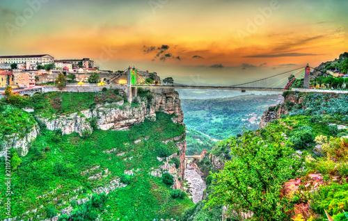 canvas print picture Sidi M'Cid Bridge across the Rhummel River in Constantine, Algeria