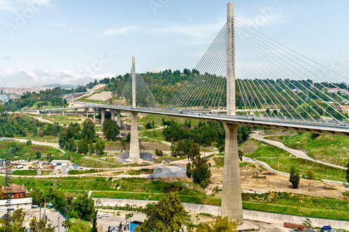 canvas print picture The Salah Bey Viaduct across the Rhummel Canyon in Constantine, Algeria