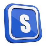 ikona plastikowa 3D niebieski kwadrat pierścień - 211983364
