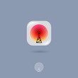 Radio tower, UI icon. Wireless technology, Internet emblem. Rounded square with tower, signals on a gray background. Web button. Contour option.