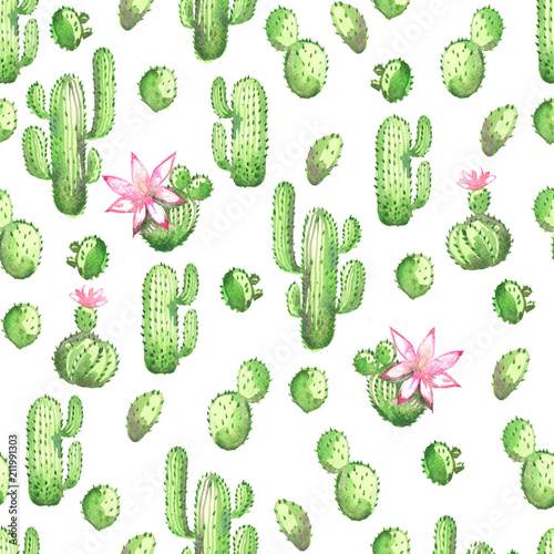 A seamless watercolor pattern with green cactus on a pink background - 211991303
