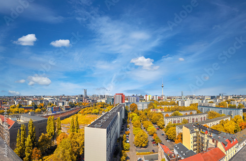 Eastern Berlin from above: modern buildings, television tower on Alexanderplatz and city skyline - 211992944