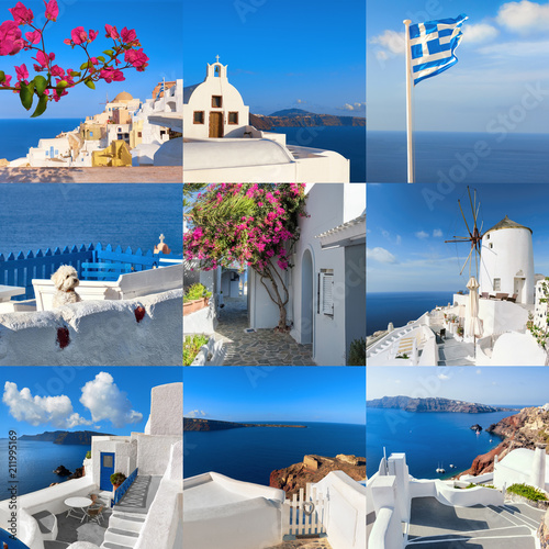 Fotobehang Santorini et of nine square images with landmarks and views of Oia village and volcanic caldera on Santorini