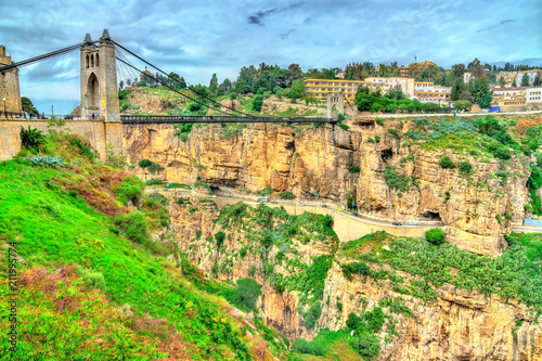 Leinwanddruck Bild Sidi M'Cid Bridge across the Rhummel River in Constantine, Algeria