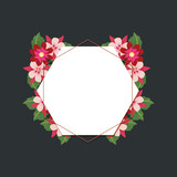 decorative frame in hexagon shape with beautiful flowers over black background, colorful design. vector illustration