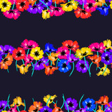 Vector seamless pattern with hand drawing wild flowers, colorful botanical illustration, floral elements, hand drawn repeatable background. Artistic backdrop. - 212003305