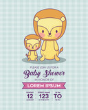 Baby shower Invitation with cute lions icon over blue background, colorful design. vector illustration
