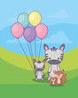 cute zebras with balloons and squirrels over landscape backgorund, colorful design. vector illustration