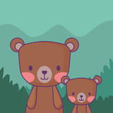 cute bears over forest background, colorful design. vector illustration - 212007522