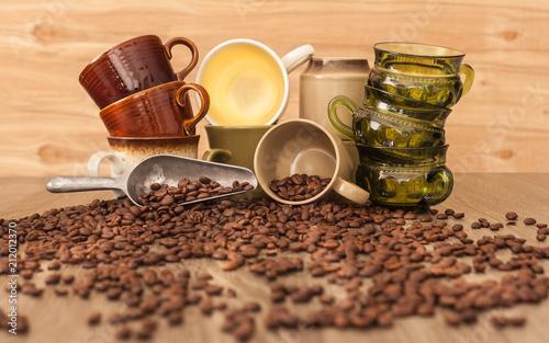 Fotobehang Koffiebonen variety coffee cups