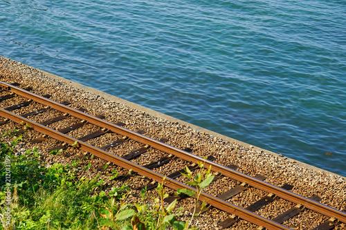 Aluminium Spoorlijn Rail along the coast. 海岸沿いの線路