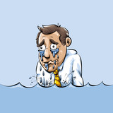 Cartoon illustration of a businessman yuppie crying and drowning in a lake of his own tears. - 212017509