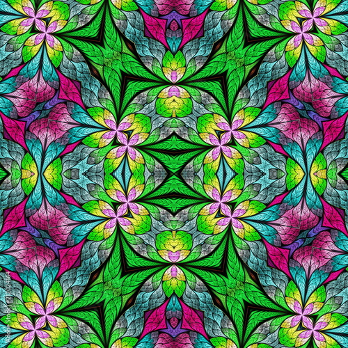 Multicolored floral pattern in stained-glass window style. You can use it for invitations, notebook covers, phone cases, postcards, cards, wallpapers and so on. Artwork for creative design. - 212024164
