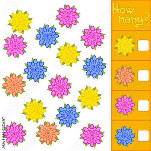 Game for preschool children. Count as many colors in the picture and write down the result. With a place for answers. Simple flat isolated vector illustration.