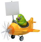Fun green bird - 3D Illustration - 212030348