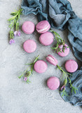 french macarons with lavender flavor - 212031519