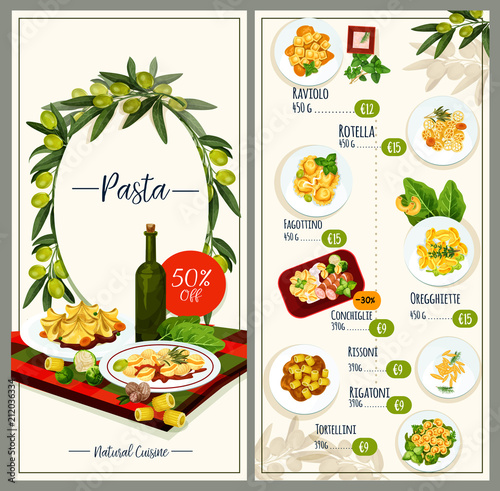 Pasta menu of Italian cuisine restaurant tempalte © Vector Tradition