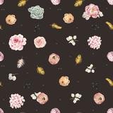 Watercolor floral vector pattern - 212041543