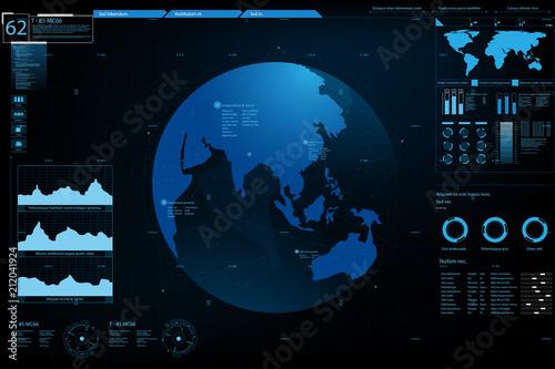 Fototapeta Futuristic element panel.World map data analysis information.vector and illustration.